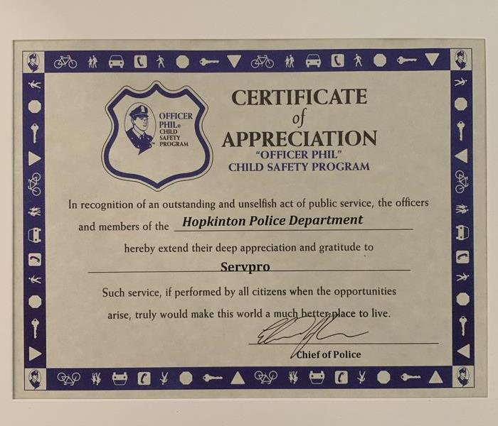 Certificate of appreciation from the Hopkinton Police Department to SERVPRO of Framingham