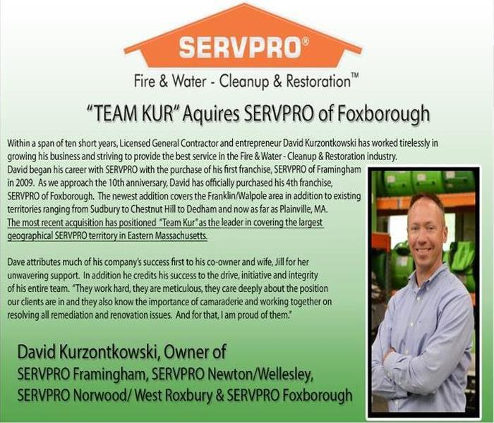 Servpro logo on top with text underneath and head shot of owner, David, on the right