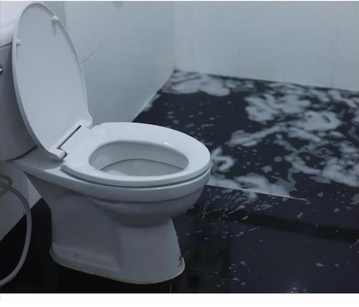 Image of a bathroom toilet that has flooded the bathroom